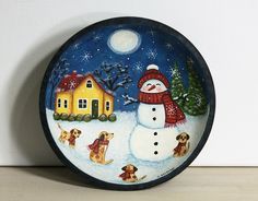 Winter Hand Painted Wood Bowl, Snowman with Puppies, Primitive Folk Art, Christmas Painting, Saltbox House, Pine Trees, Snowflakes, Naive