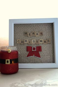 Christmas Scrabble Art Frame - Easy and Fun Project - this would be great for any saying or a name. Scrabble+Art+Frame+-+Easy+and+Fun+Project - Homemade Christmas, Diy Christmas Gifts, Christmas Art, Christmas Projects, All Things Christmas, Fun Projects, Holiday Crafts, Christmas Holidays, Holiday Decor