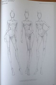 """9 HEADS FASHION BOOK"" S Curve Fashion Drawing template:"