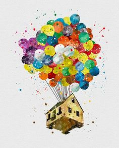 Up Balloon House Watercolor Art - VividEditions