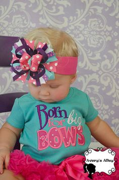 Born for Big Bows - Girls Polka Dot Applique Shirt or Bodysuit & Matching Hair Bow Set by AverysAlley1 on Etsy https://www.etsy.com/listing/183415137/born-for-big-bows-girls-polka-dot