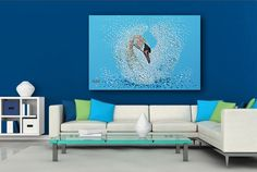 Swimming Swan 36 Abstract Original Large by ModernVisionArt