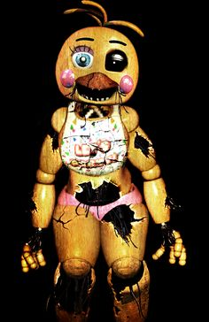 Violet: :toy chica gets thrown in box: CHICA!!! WUT HAPPENED!!!?? Toy chica:I refused to go in the box, and they beat me to shreds. How am i supposed to go to the dance like this?? Violet: i dont think we will be going, toy.