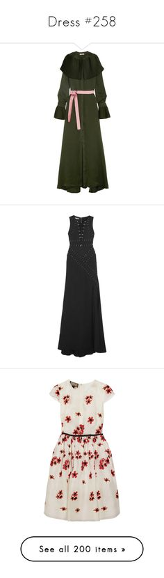 """Dress #258"" by bliznec-anna ❤ liked on Polyvore featuring dresses, dark green, green silk dress, pleated maxi dress, crepe de chine dress, antique dresses, silk dress, gowns, antonio berardi and gown"