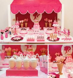 Awning for party table backdrop! Barbie Themed Ice Cream Party via Kara's Party Ideas - www. Barbie Theme Party, Barbie Birthday Party, 4th Birthday Parties, Birthday Ideas, Bolo Barbie, Barbie Doll, Pink Barbie, Party Deco, Festa Party