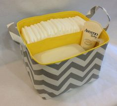 LG Diaper Caddy 10x10x7 Fabric Bin, Fabric Storage bin, Fabric Organizer Chevron Zig Zag  Grey/White Yellow Lining