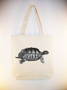 Vintage Turtle illustration on 15x15 Canvas Tote by Whimsybags, $12.00