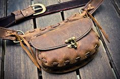 Wanderlust Leather Hip Belt with Pockets by SevenBillionBuddhas - It's like a cool fanny pack!!