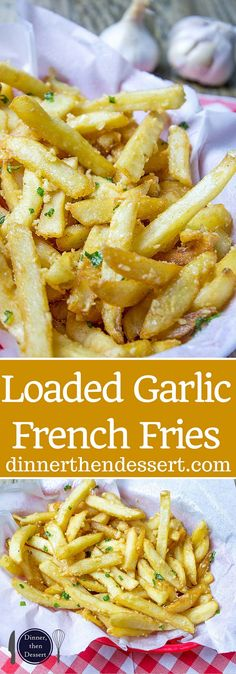 Oven Baked Loaded Garlic French Fries tossed in slightly warmed chopped garlic, olive oil and kosher salt, just like you enjoy at the ball game! I would use olive oil Think Food, I Love Food, Good Food, Yummy Food, Tasty, Potato Dishes, Food Dishes, Side Dishes, Potato Snacks