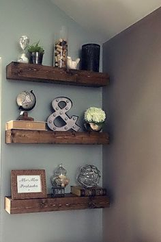 Living room shelf ideas:Rustic Floating Shelves - get two for above toilet.