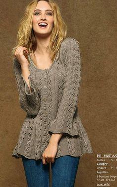 "Photo from album ""Vasarines bliusk ilg rank"" on Yandex. Knitting Patterns Free, Knit Patterns, Free Knitting, Free Pattern, Cardigan Pattern, Crochet Cardigan, Pull Crochet, Knit Crochet, Crochet Woman"