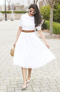 Spring / Summer Outfit Ideas - White Eyelet Dress, White Shirt Dress, White Eyelet Dresses For Summer, Eyelet Midi Dress, White Summer Dresses, Cult Gaia Ark, Gucci Marmont Belt, eShakti Cotton eyelet dress