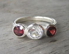 Pink Garnet Ring Radiant Cut Solitaire Gemstone by onegarnetgirl