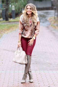 Love this fall outfit!  Patterned top is totally my style and I love the red skinnies and taupe boots