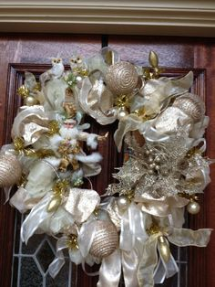 Gold and Ivory Christmas Wreath w/Mark Roberts Fairy wired in.