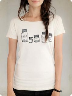 Mason Jar Collection - Organic Cotton Shirt - Canning, Preserving, Homesteading- 2 Color Choices. via ShopHomegrown on Etsy.