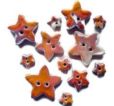 Ceramic orange buttons star sewing button by CeramicaAnaRafael