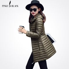Pinky Is Black2017 New Female Warm Winter Jacket Women Coat Thin Down Cotton Parka Ultra-light Cotton-padded Jacket Long Outwear