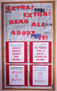 Resurrection bulletin board idea - connect with the gospel being the good news