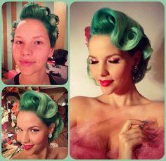 Sea green pin curls