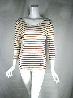 MASSIMO DUTTI Ivory & Tan 3/4 Sleeve Lightweight Cotton Linen Sweater Sz Medium #MassimoDuti #Pullover