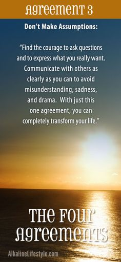 Reduce your stress! Enhance your interactions with yourself and others by learning (or reviewing) The Four Agreements by Don Miguel Ruiz. This is Agreement 3.