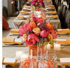 Burlap looks pretty with pinks and oranges