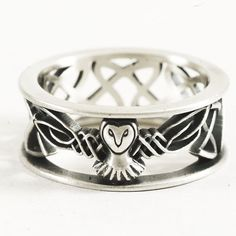Celtic Barn Owl Ring in Sterling Silver Raised Woven by Spoonier