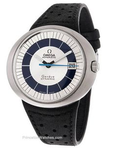 Pre Owned Vintage Omega Automatic Black Strap BlueWhite Dial