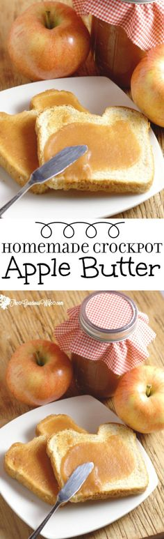 Crockpot Apple Butter Recipe – An easy, healthy crockpot breakfast recipe. I lov… Crockpot Apple Butter Recipe – An easy, healthy crockpot breakfast recipe. I love apple butter for breakfast on toast! Such a cheap but delicious meal! Breakfast Crockpot Recipes, Crock Pot Desserts, Crock Pot Cooking, Slow Cooker Recipes, Apple Desserts, Dessert Recipes, Cooking Wine, Potluck Recipes, Apple Recipes