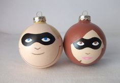 Incredibles Disney Pixar Painted Holiday Christmas Ornament Gift Set of 2 at Ginger Pots on Etsy
