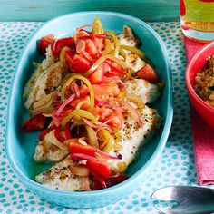 Grilled Snapper and Sweet Sour Peppers -- tangy and fresh!