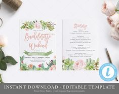 Succulent Bachelorette Weekend Invitation Invitation and Itinerary Card | Instant Download, Editable, Printable | Cactus, Fiesta | DC010