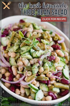 Three Bean Salad is good, but four bean salad is even better! This flavorful, cold, protein, fiber filled vegetarian salad recipe is perfect for potlucks! The dressing is a tangy vinaigrette that perfectly complements the beans. The red onion and fresh cucumber offer a fresh and flavorful crunch.
