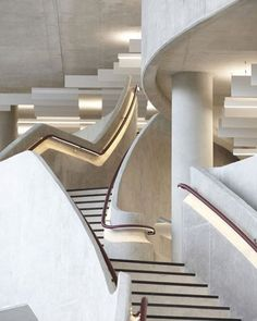 London architecture firm Make added leather handrails to the sculptural concrete staircase at insurance company Hiscox headquarters in York England.:courtesy of the architect. @sandow - Architecture and Home Decor - Bedroom - Bathroom - Kitchen And Living Room Interior Design Decorating Ideas - #architecture #design #interiordesign #homedesign #architect #architectural #homedecor #realestate #contemporaryart #inspiration #creative #decor #decoration