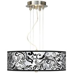 "Regency Black 20"" Wide 3-Light Pendant Chandelier 