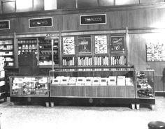 Florida Memory - Inside the Lane Drugstore with a tobacco display counter