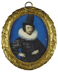 Portrait of the artist (Isaac Oliver) ~ 1590 watercolor on vellum laid on cardstock miniature