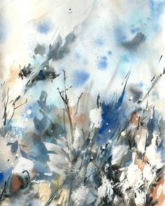 Abstract Winter Watercolor Painting Art Print, Abstract Modern Watercolour Art, Blue Intuitive Watercolour
