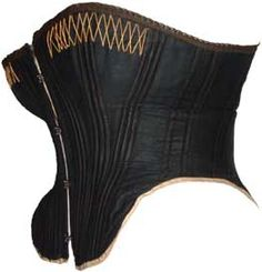 With the narrower silhouette, emphasis was placed on the bust, waist and hips. A corset was used to help mold the body to the desired shape. This was achieved by making the corsets longer than before, and by constructing them from separate shaped pieces of fabric. To increase rigidity, they were reinforced with many strips of whalebone, cording, or pieces of leather. Steam-molding, pateted in 1868, helped create a curvaceous contour. (2 pins)