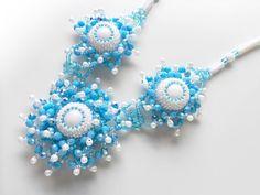 水色ビーズデザインネックレス #カザリ咲色 #ビーズ #ビーズフラワー #ビジュー #ハンドメイド #ネックレス #手作り #手芸 #アクセサリー #コスチュームジュエリー #bead #beads #bijou #beading #beadedflower #beadswork #beadwork #beadsph #bijoux #beaded #biser #necklace #handmade