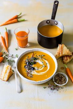 This curried carrot and sweet potato soup is a slightly spicy soup that is naturally sweetened with carrot juice – perfect for the cooler weather. Micro Herbs, Best Food Photography, Soup Dish, Spicy Soup, Sweet Potato Soup, Recipe For 4, Soups And Stews, Food Inspiration