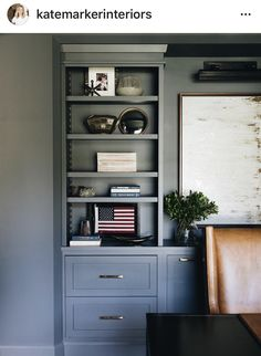 Ginko study by Kate Marker Interiors Fine Home Building, Building A House, Home Wine Bar, Painted Bookshelves, Grey Bookshelves, Bookshelf Wall, Bookcase, Blue Subway Tile, Inviting Home