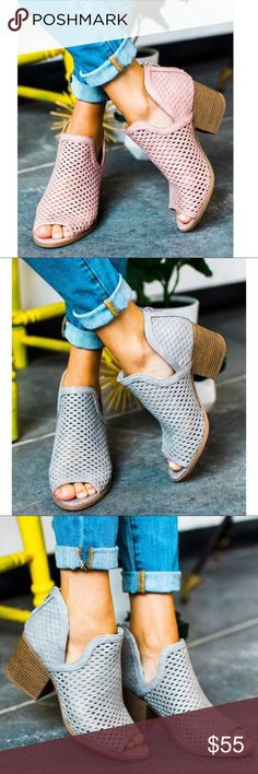 JUSTINE Booties So perfect for summer! Super comfy.   ALSO AVAILABLE IN GREY & BLUSH   NO TRADE  PRICE FIRM Shoes