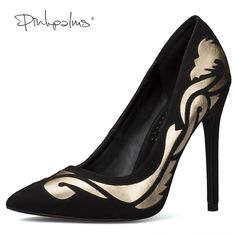 Discount Pink Palms summer autumn new arrival women high heels shoes totem black pointed toe party wedding. Click visit to read descriptions