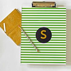 Clipboards | Colored Stripes with Gold Foil Monogram