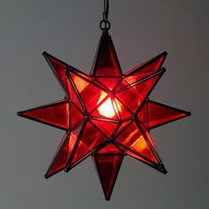 Red Glass Hanging Star Light