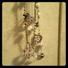 "Perfect Purple Heart Necklace This Betsey Johnson Necklace has three strands. Has all of its jewels. Never Worn! Two gold strands the third has a ""burnt"" look. Excellent Used Condition ♡ Betsey Johnson Jewelry Necklaces"