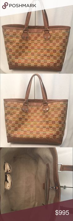 Gucci Large Tote handbag New! Never used. Authentic Gucci Tote Handbag. Gorgeous colors! Tan leather trim. Fast shipping! Gucci Bags Shoulder Bags