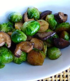 Brussel sprout & shitake mushroom sauté. Great way to cook veggies, incl kale and asparagus